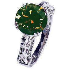 & Natural Black Diamond.925 Silver Ring 4.11 ct Si1/White Brown Real Moissanite