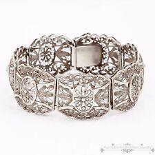 Antique Vintage Victorian Sterling 835 Silver German Filigree Etruscan Bracelet