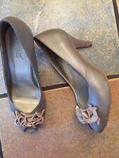 Metalic Grey Peep Toe Heels Lotus Size 5