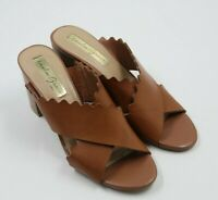 Amelia Grace Womens Ladies Brown Open Toe Slides Sandals Heels Shoes Size 8M