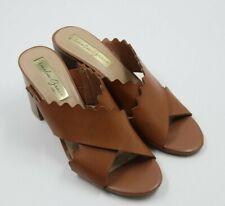 Amelia Grace Womens Ladies Brown Open Toe Slides Heels Shoes Size 8M