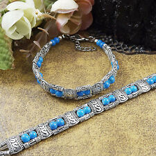 Free shipping New Tibet silver multicolor jade turquoise bead bracelet S02