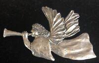 "Vintage Rare Sheridan Fine Pewter Angel Trumpet Brooch Pin 2.75"""