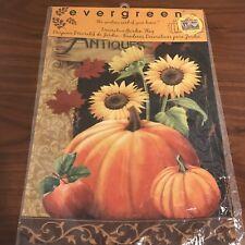 "Pumpkin Antiques For Sale Garden Flag 12.5"" x 18"" Evergreen Suede New"