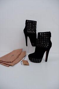 ALAIA Black Suede Leather Boots Size 40.5 Uk 7.5 VGC Heels Platform