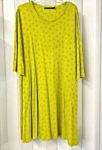 "Gudrun Sjoden ""Josefin"" Dress Tunic Size L Bright Green w/ Orange Polka Dots"