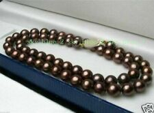 Pretty 8mm Genuine Chocolate South Sea Shell Pearl Necklace 18'' AAA