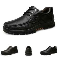 Men Faux Leather Shoes Work Round Toe Business Oxfords Lace up Non-slip Casual L