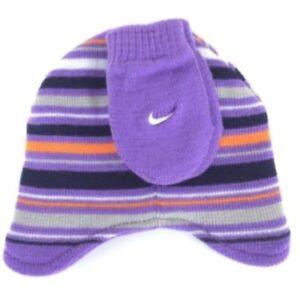 Nike Infant 12-24 Month Girls/Boys Beenie & Mitten Set Purple Stripes New