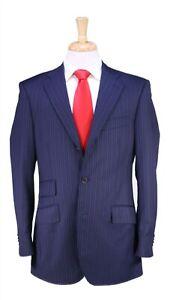 Etro Recent Navy w/ Sky Blue Stripes 3-Btn Wool Luxury Suit 38R