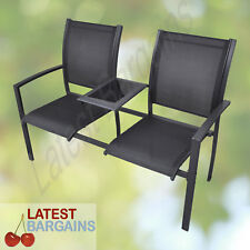Outdoor Garden Bench Seat Glass Table 2 Seater Jack & Jill Chair Furniture