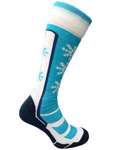 Women Girls Ski Socks Wool Long Warm Winter Snowboard Thermal Turquoise 2 sizes