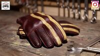 Vintage Cafe Racer Leather Glove (Burgundy + Yellow) Size L