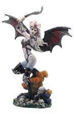 10.75 Inch Gothic Bat Wing Woman Female Warrior Dark Fairy Statue Girl Skulls