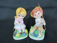 Vintage Girl & Boy Fishing Figurines Bisque Porcelain Korea Complete No Flaws