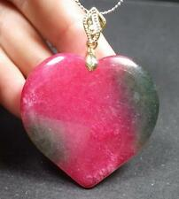 Gold Plate Red Green JADE Pendant Love Heart Necklace 287249