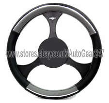 Dotted Grey Black Chrome Insert Comfort Soft Touch Steering Wheel Cover Glove
