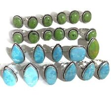 100 PCs. Lot LARIMAR & GREEN TURQUOISE 925 Sterling Silver Plated Ring Jewelry