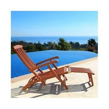 Wooden Chaise Lounge Steamer Lounger Patio Deck Pool Furniture Folding Chair New