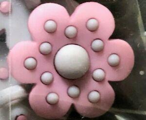 Novelty Buttons (new) 3/4'' Grey & Pink Flower (4)