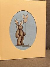 Teddy bear cross stitch Bunny Suit And Balloon finished completed framed