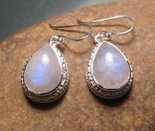 Sterling silver 8gr RAINBOW MOONSTONE decorative earrings. Gift Bag.