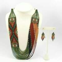 Seed Bead Necklace Multi Strand Multi Color Glass Earrings Set Fashion Jewellery