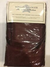 New Tommy Hilfiger Crest Collection King Pillowcases Sateen Dark Red