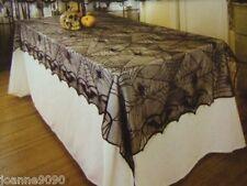 Halloween Gótico CORDÓN NEGRO Telaraña Mantel 122cmx244cm Rectangular mantel