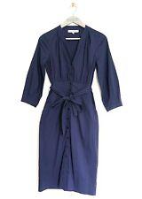 L.K BENNETT WOMENS NAVY BLUE LIGHTWEIGHT COTTON BLEND SHIRT DRESS *UK 6/EU 34*