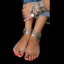 1x Silver Boho Gypsy Coin Anklet Ankle Bracelet Foot Chain Ladies Jewelry SX