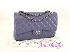 Authentic Chanel Classic Jumbo Purple Lavender Lambskin Double Flap Bag SHW