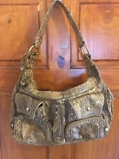 Ladies Stunning Kathy Van Zeeland Python Bling Charms Hand Shoulder Bag
