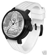 Buddha 3D Light Watch: LED white lithophane museum art design blackout steel
