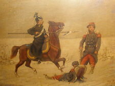 ANTIQUE 19/20thc LISTED CHRISTIAN SELL GERMAN WINTER MILITARY WAR OIL PAINTING