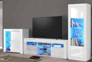 Living Room Furniture Set LED TV Unit Display Cabinet Matt Body High Gloss Door