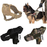 Tactical Military Training Service Dog Nylon Vest Police Patrol Harness w Handle