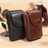Men Genuine Leather Cell Phone Case Cover  Skin Belt Purse Fanny Pack Waist Bag