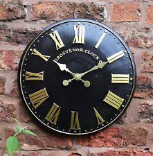 Outdoor indoor black Garden Wall Clock  Hand Painted church clock 30cm 1063