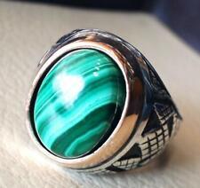 Turkish Malachite 925 Sterling Silver Men's Ring Heavy Signet Jewelry P1570