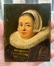 17th C. Dutch Miniature Portrait Woman, Signed & Dated 1659, Oil on Wood Panel