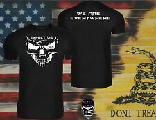 Expect Us,Black,t shirt,Three Percenter, 3%,We Are Everywhere,Skull,Molon Labe
