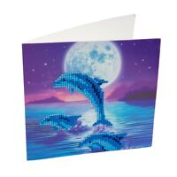 Craft Buddy Crystal Art DIY Greeting Card kit, Dolphin pod, 5D diamond painting