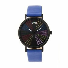Crayo Fortune Women's Rainbow Dial Navy Blue Band Black Watch CR4308