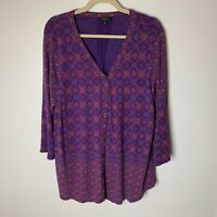 Lucky Brand Women's Top Size 1X Cotton Blend Button Front 3/4 Sleeves Purple Red