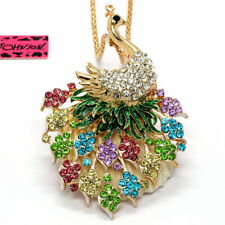 Betsey Johnson Pendant Sweater Necklace Hot Beautiful Colorful Crystal Peacock