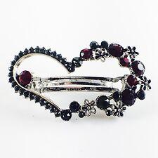 USA BARRETTE Rhinestone Crystal Hairpin Clip Vintage Elegant Heart Black Red 10