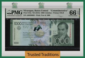 TT PK 216a 2016 NICARAGUA BANCO CENTRAL 1000 CORDOBAS COMMEMORATIVE PMG 66 EPQ