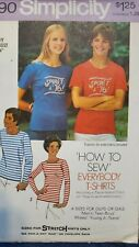 "Vtg Simplicity How To Sew pattern 7290 Everybody T-Shirts size Small 32"" - 34"""