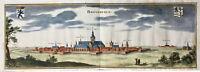 Bourbourg en 1680 Nord Calais Gravelines Rare Gravure sur Cuivre